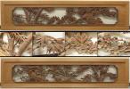 ◇桜谷◇井波彫刻 細密木彫 松竹梅文 欄間一対