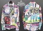 美品 ヴィヴィアンウエストウッドマン Vivienne Westwood MAN アート総柄プリント/オーブ刺繍 長袖シャツ 白/46