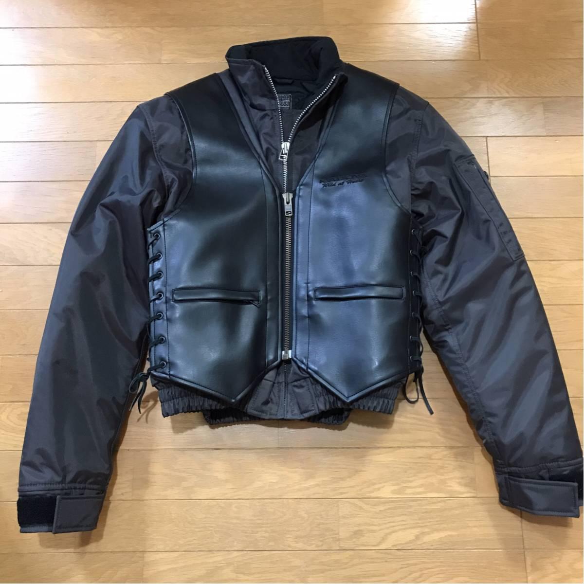 新品 同様 KADOYA カドヤ PVC加工 レザー 切り替え袖 サイズS 脱着可能プロテクター付き ライダース ジャケット ライディングジャケット