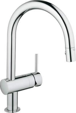 未使用 GROHE グローエミンタキッチンスワングースネックホース収納シングルレバーハンドシャワー整流 シャワー切り替混合水栓