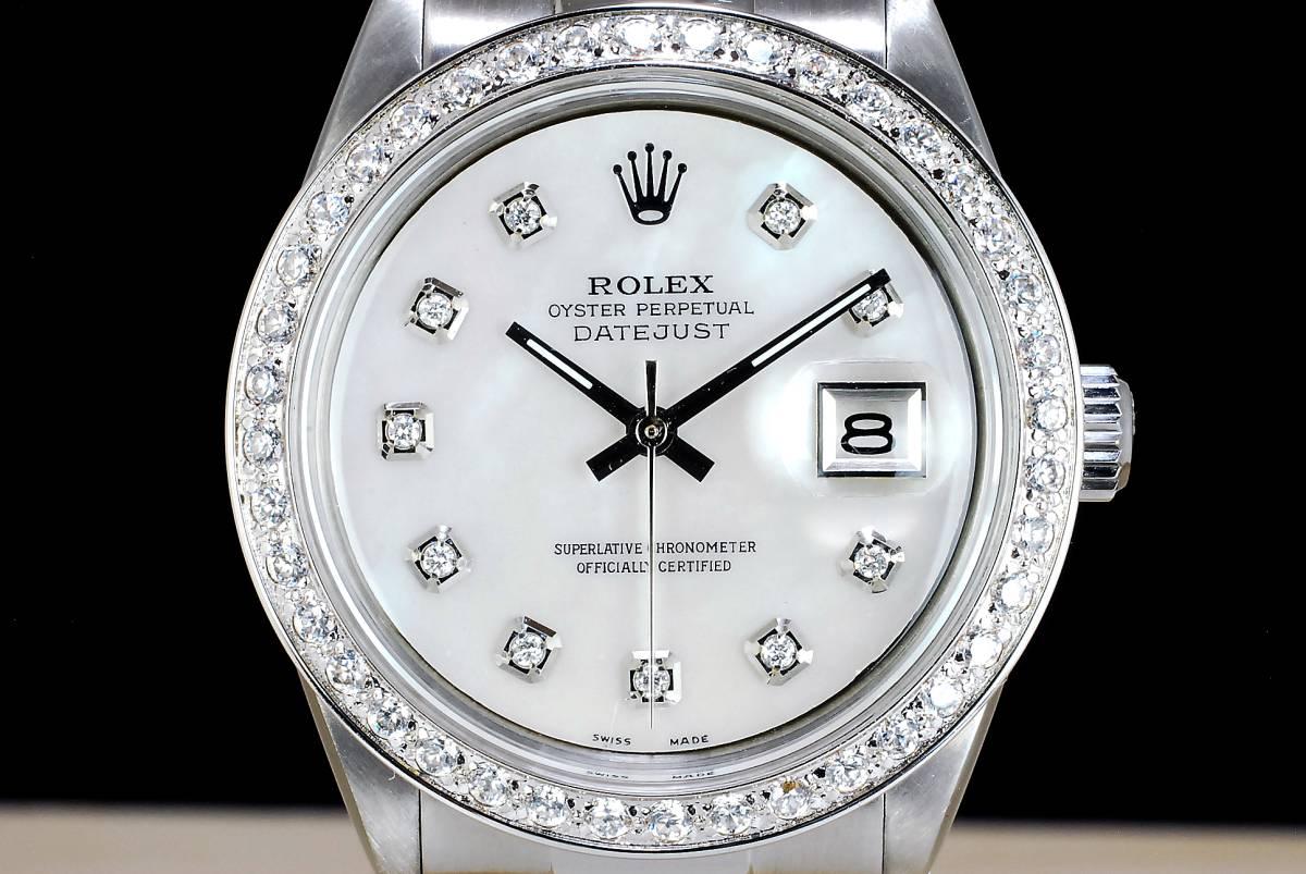 極美品 ロレックス デイトジャスト 白 ホワイトシェール ダイアル White MOP 10P ダイヤ Ref.1601 Cal.1570 ハック機能 メンズ ROLEX_画像2