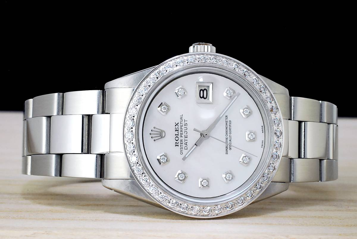 極美品 ロレックス デイトジャスト 白 ホワイトシェール ダイアル White MOP 10P ダイヤ Ref.1601 Cal.1570 ハック機能 メンズ ROLEX_画像3