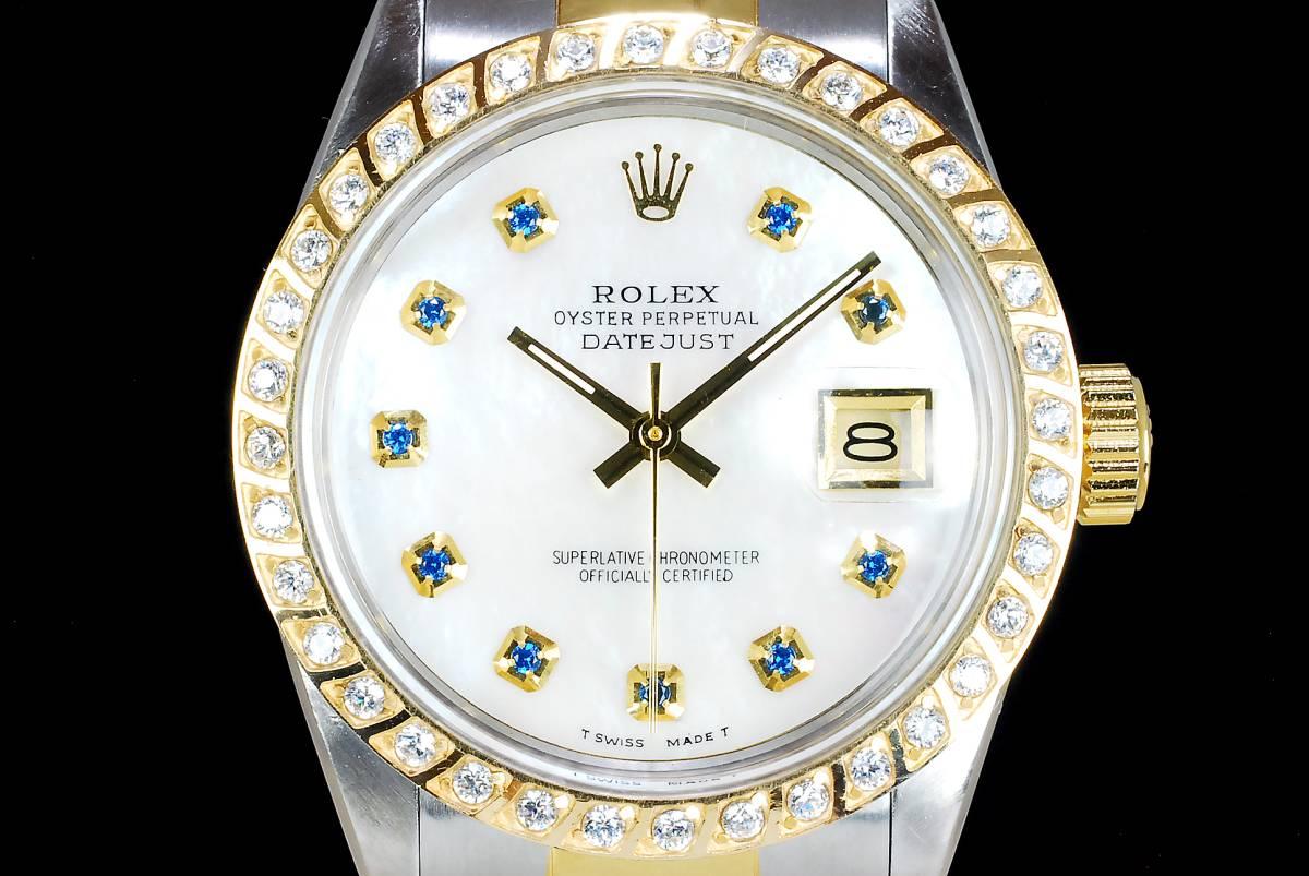極美品 ロレックス デイトジャスト 白 ホワイトシェール ダイアル White MOP 10P サファイアー Ref.16013 Cal.3035 日付早送り機能 ROLEX_画像2