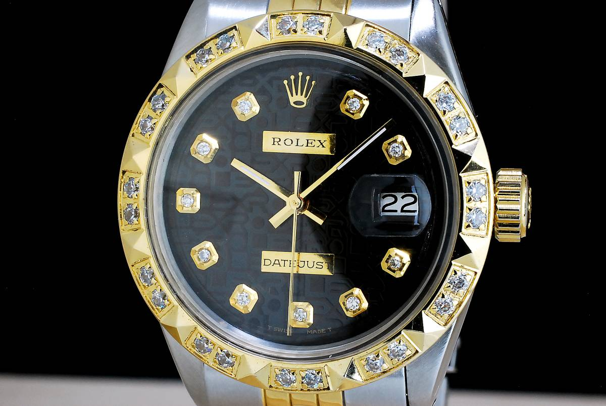極美品 ロレックス デイトジャスト 黒 ブラックジュビリー ダイアル Black Jubilee 10P ダイヤ Ref.1601 Cal.1570 OH済 仕上げ済 ROLEX_画像2