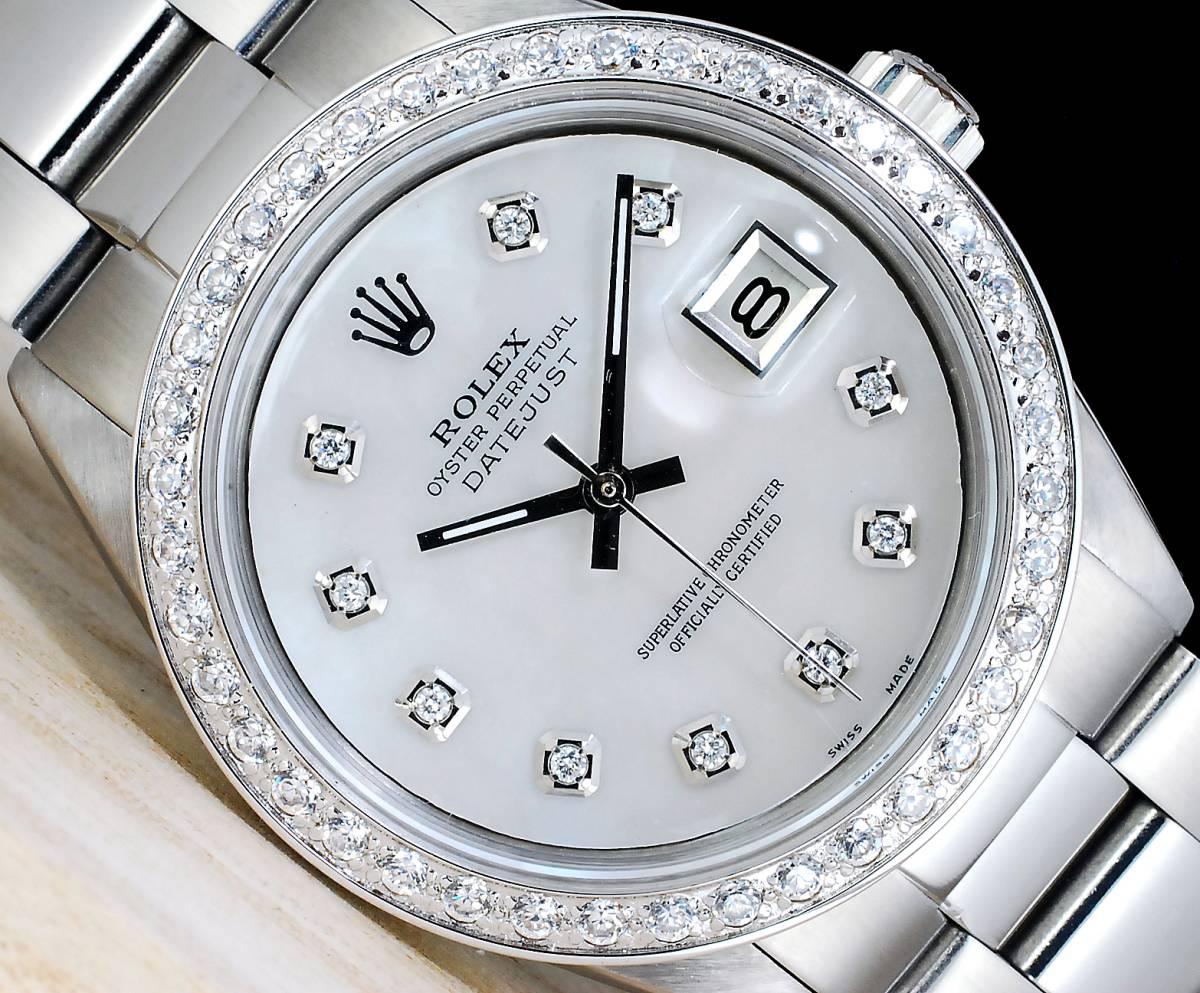 極美品 ロレックス デイトジャスト 白 ホワイトシェール ダイアル White MOP 10P ダイヤ Ref.1601 Cal.1570 ハック機能 メンズ ROLEX