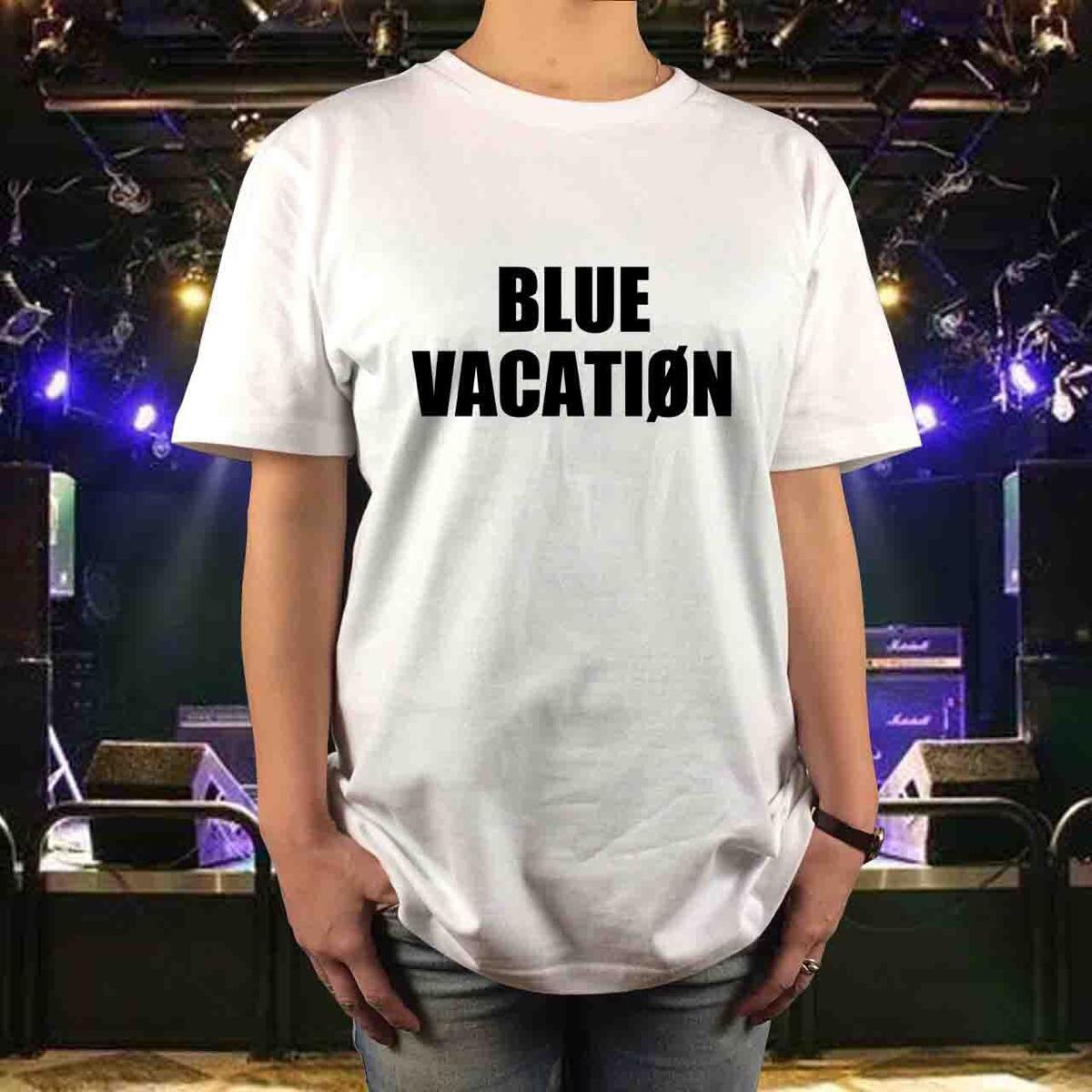 新品 BOOWY ボウイ メッセージTシャツ BLUE VACATION ブルーバケーション サイズS,M,L,XL 氷室京介 布袋寅泰 メンズ レディース GIGS ライブグッズの画像