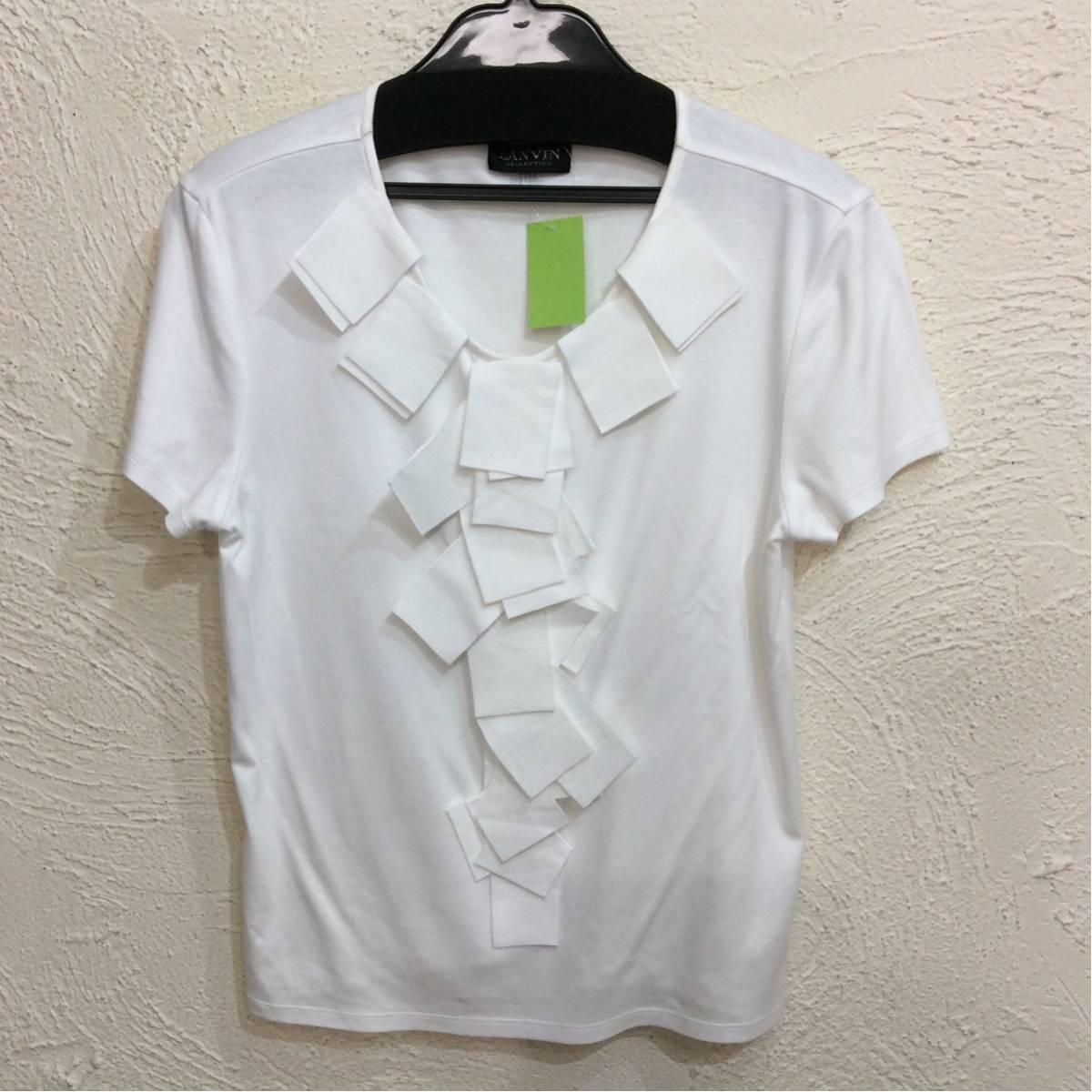 ランバン 半袖カットソー 白色 前リボン飾り 後ろ上ラインストーン飾り サイズ表記なし_画像1