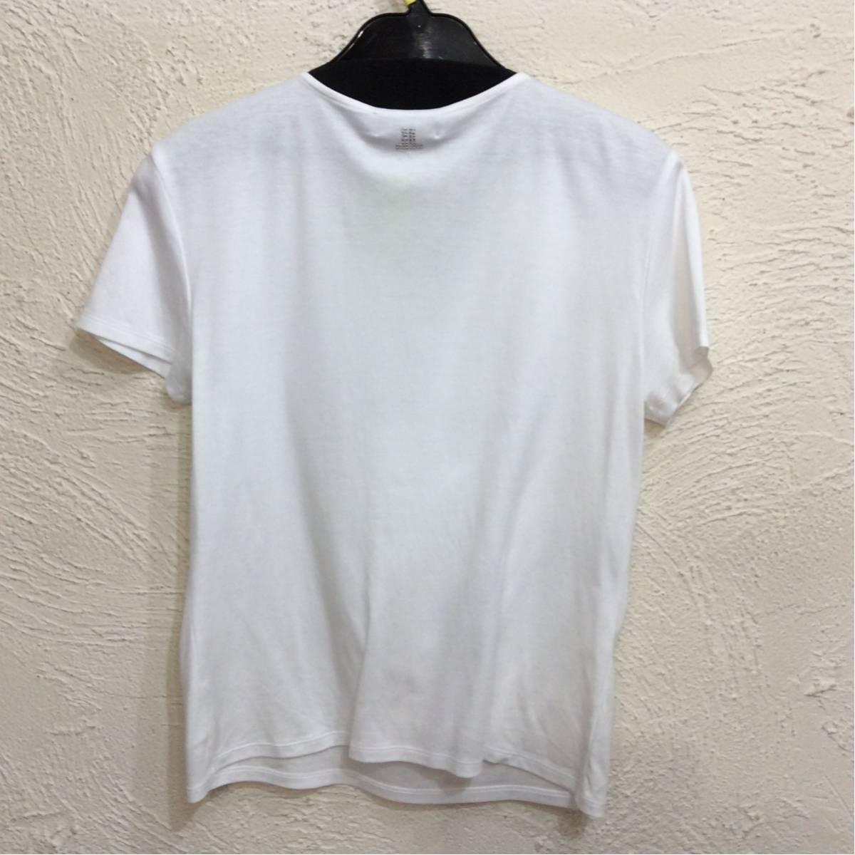 ランバン 半袖カットソー 白色 前リボン飾り 後ろ上ラインストーン飾り サイズ表記なし_画像2