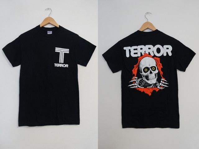 ♪美品TERRORテラー覗きボーンズTシャツSバンドTハードコアPOWELLパウエル骸骨ドクロ髑髏
