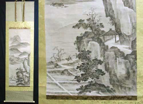 室町期 大家 相阿弥 『山水人物』の図 掛け軸 本人印譜 肉筆保証 検 日本画 南画