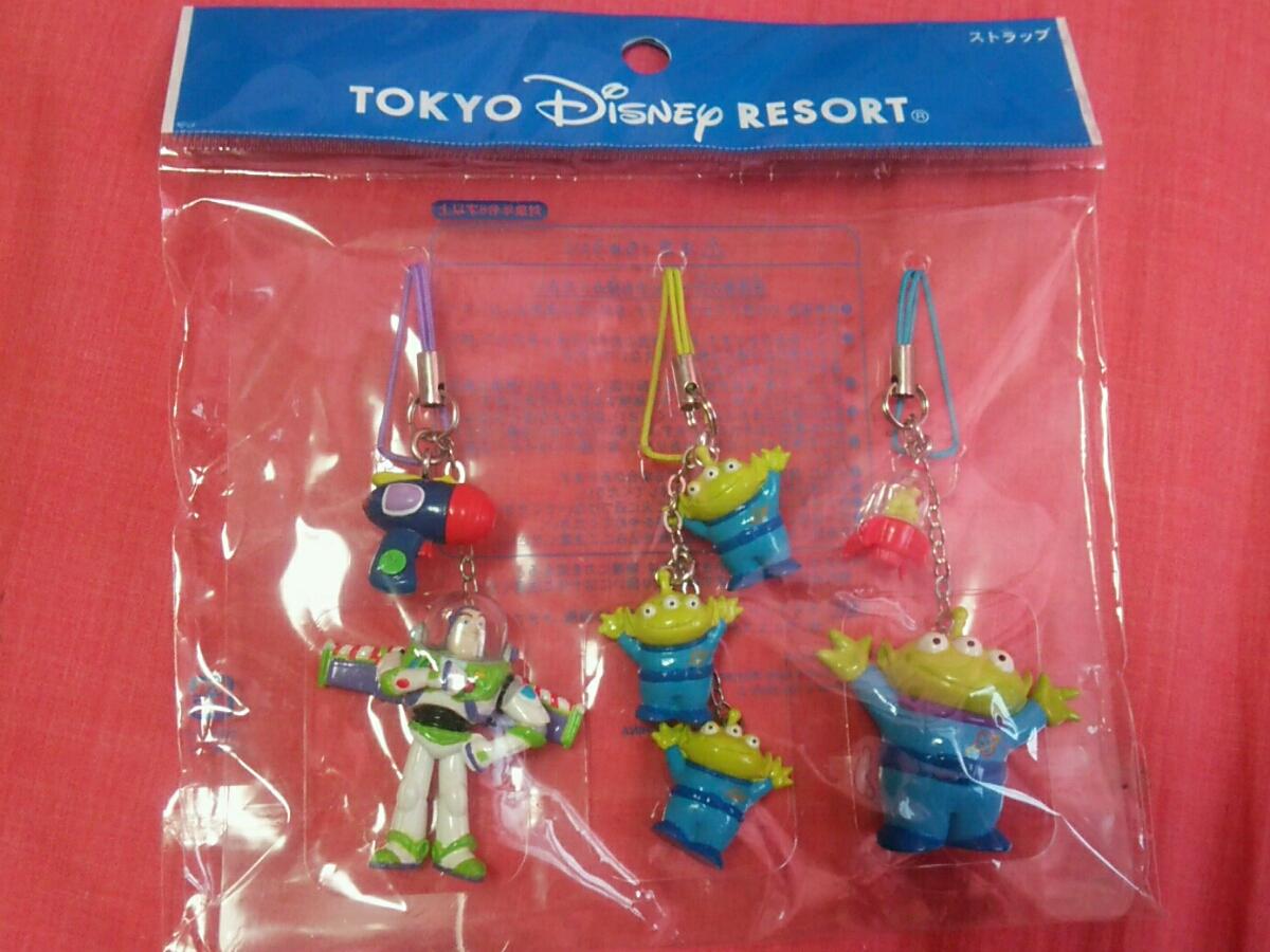 新品未開封☆TOKYO Disney RESORT ストラップ バズライトイヤー リトルグリーンメン TDL TDR ディズニーグッズの画像