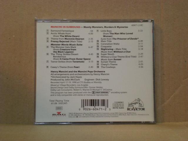 マンシーニ・イン・サラウンド~数多くのテレビ・映画音楽に関わったサウンドトラックの大御所ヘンリー・マンシーニのレアCD_画像2