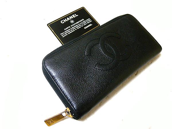 CHANEL シャネル キャビアスキン ラウンドファスナー長財布 ブラック 黒 超美品