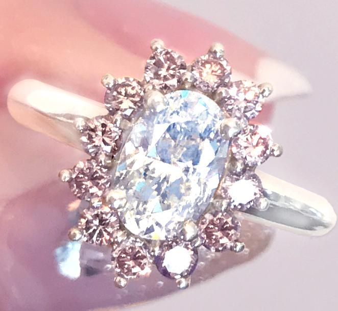 《DIAMOND》PT900 ダイヤ ダイヤモンド ピンクダイヤ 天然 リング ピ