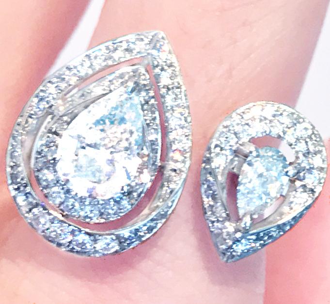 《DIAMOND》PT900 ダイヤ リング 1.007ct 0.266ct!! ショーメ のデザイン Fカラー《PEARSHAPE》
