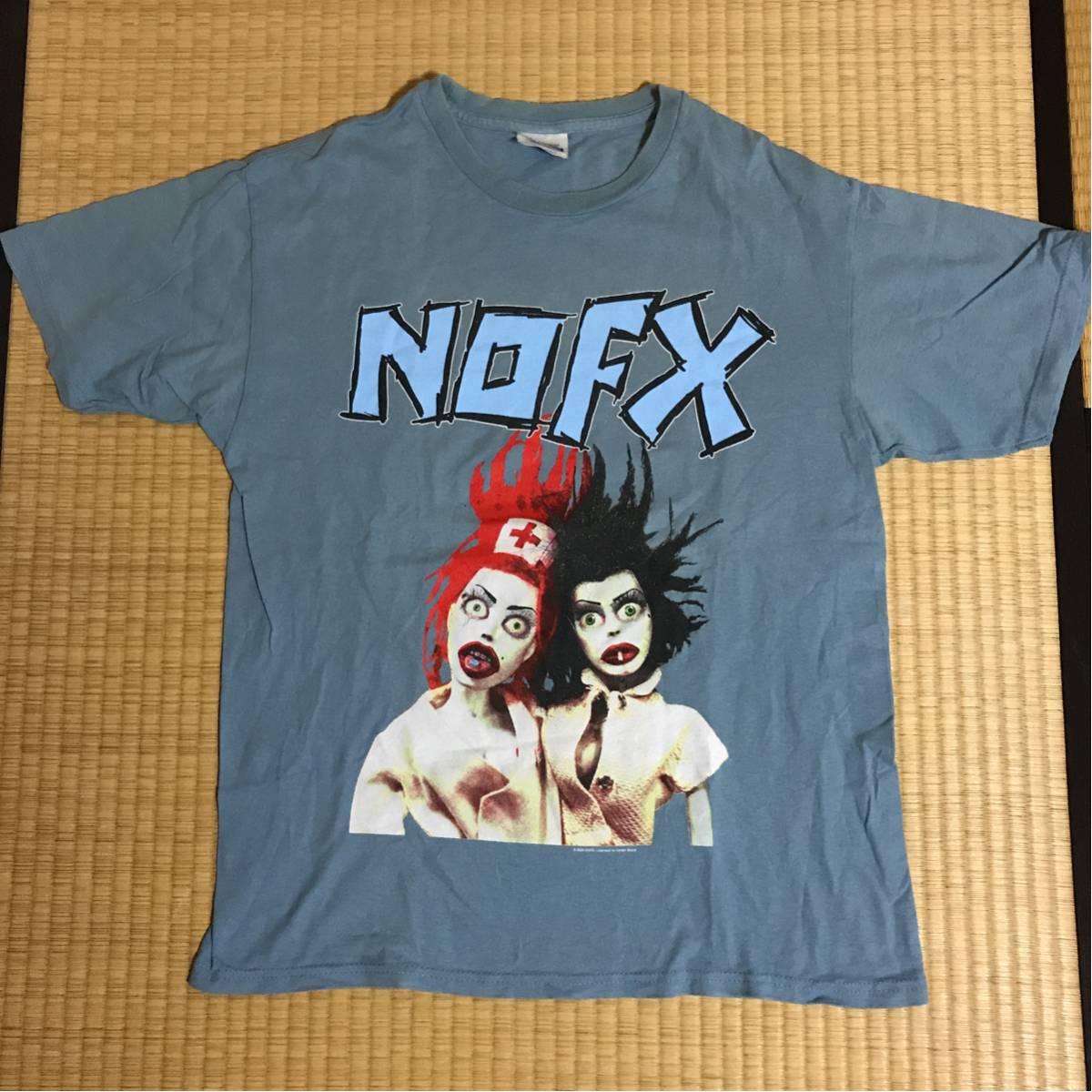 NOFX ビンテージ2000オフィシャルバンドTシャツMブルーグレー ノーエフエックス レア ライブグッズの画像