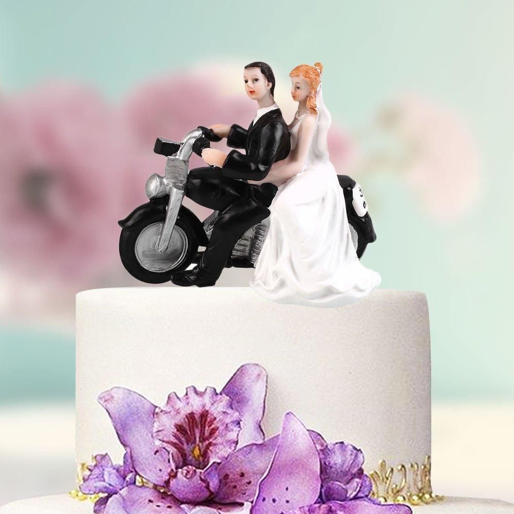 【新品未使用】ケーキトッパー ウェディングケーキ 仲むつましくバイクに乗る新郎&新婦(No.2) 結婚式 サプライズ 思い出 プレゼント_画像2