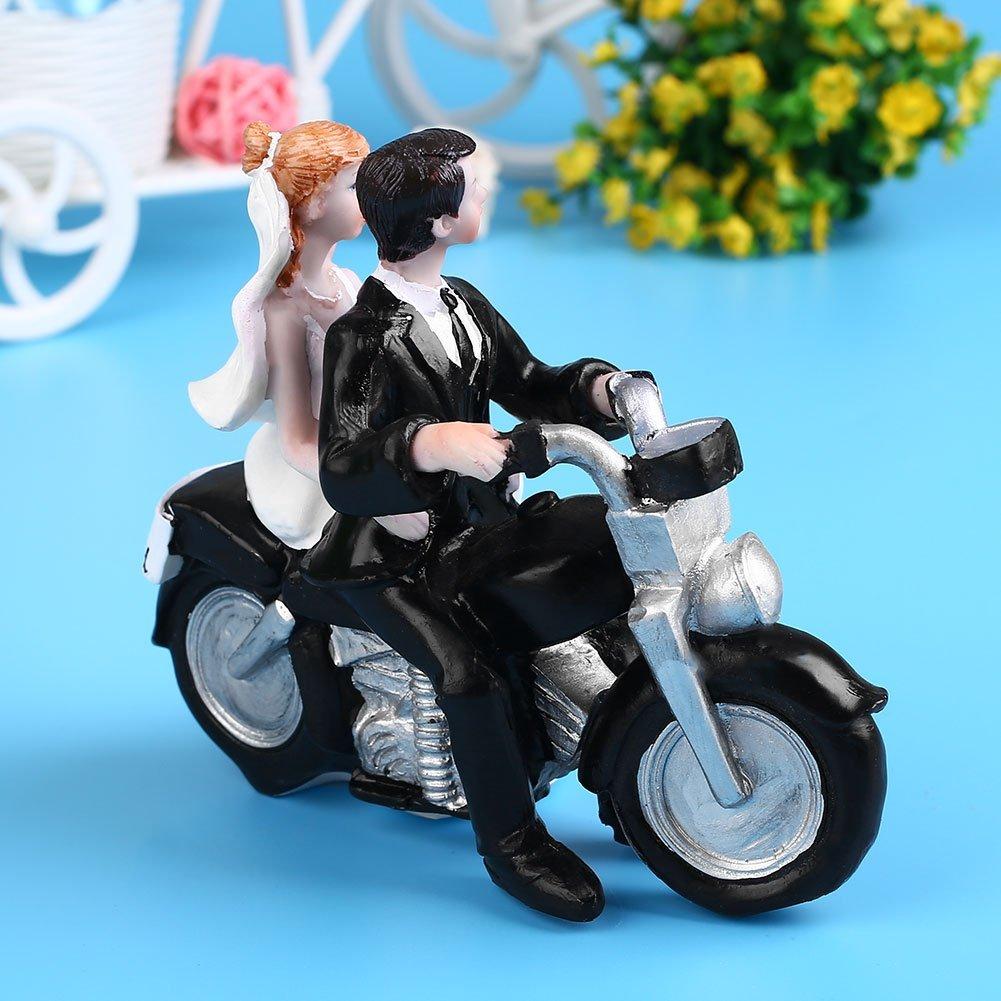 【新品未使用】ケーキトッパー ウェディングケーキ 仲むつましくバイクに乗る新郎&新婦(No.2) 結婚式 サプライズ 思い出 プレゼント_画像3