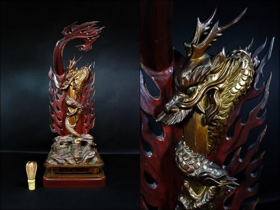 仏教美術 木造 木彫 利伽羅剣 不動明王 高さ69.4cm 寺院仏具