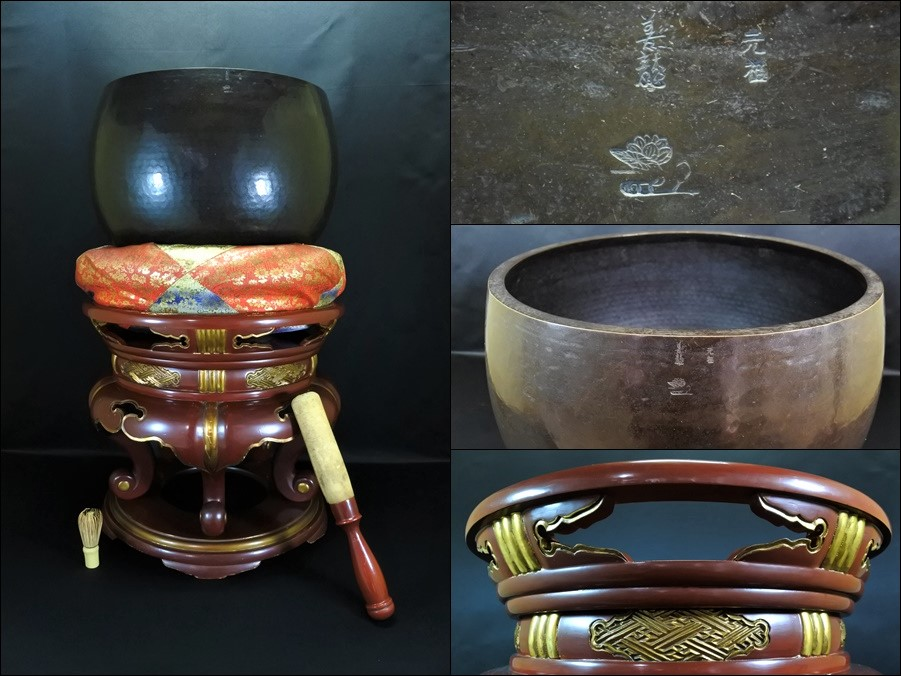 仏教美術 特大銅造 けいす おりん 座布団 りん台 全高90.5cm 寺院仏具