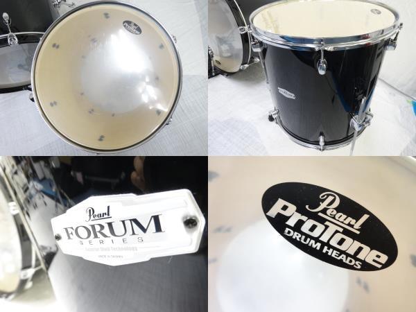 中古 Pearl FORUM SERIES ドラム セット 打楽器 チェア 譜面台 ケース付き パール 直N2564184_画像7