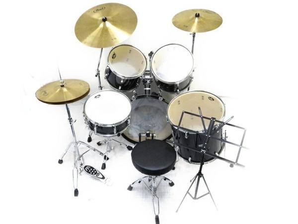 中古 Pearl FORUM SERIES ドラム セット 打楽器 チェア 譜面台 ケース付き パール 直N2564184