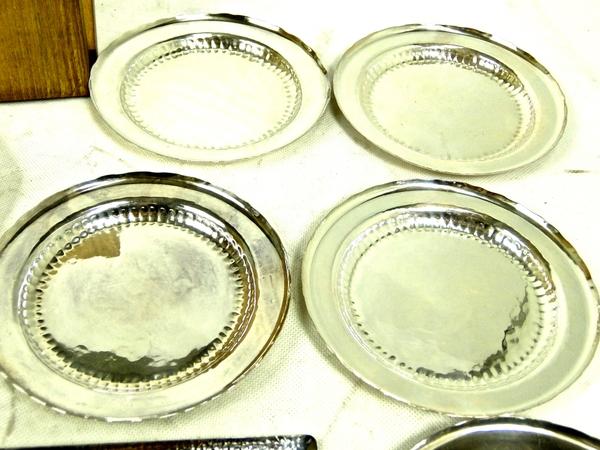 貴重 純銀製 鎚打 菓子皿 2種 11客 食器 箱付 小皿 S1685518_画像4