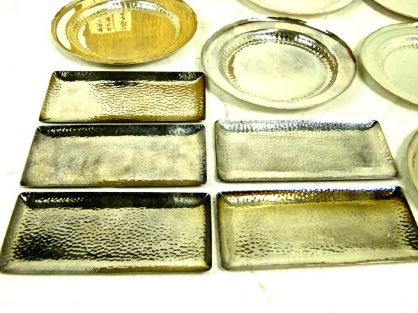 貴重 純銀製 鎚打 菓子皿 2種 11客 食器 箱付 小皿 S1685518_画像2