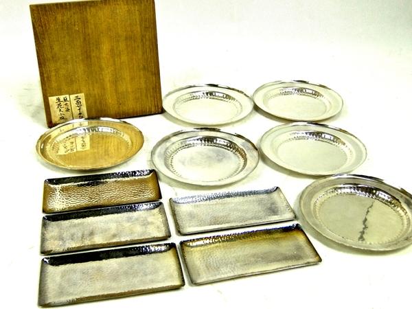 貴重 純銀製 鎚打 菓子皿 2種 11客 食器 箱付 小皿 S1685518