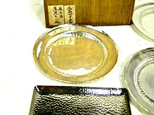 貴重 純銀製 鎚打 菓子皿 2種 11客 食器 箱付 小皿 S1685518_画像5