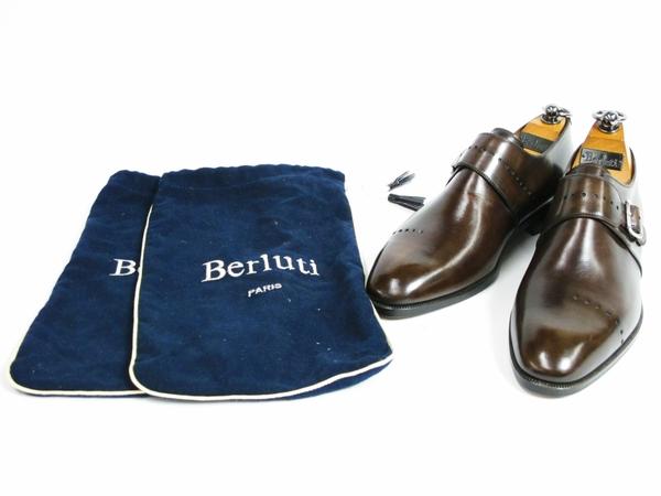 美品 Berluti Buckle ベルルッティ バックル メンズ ビジネスシューズ ブラウン 茶 UK7 JP25.5 レザー 革靴 T2589167_画像9