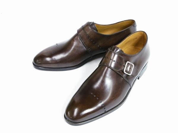 美品 Berluti Buckle ベルルッティ バックル メンズ ビジネスシューズ ブラウン 茶 UK7 JP25.5 レザー 革靴 T2589167