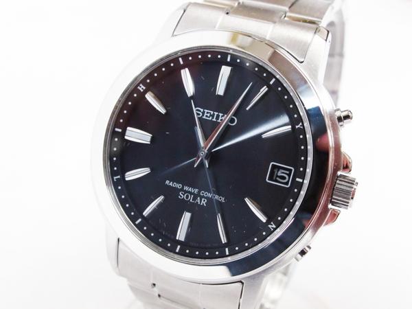 未使用 セイコー スピリット SBTM169 メンズ 腕時計 ステンレス ソーラー電波 黒文字盤 T2596718