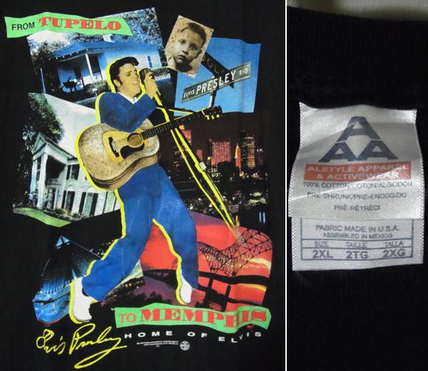 90s ビンテージ レア ビッグサイズ エルビスプレスリー ロックTシャツ ロカビリー 黒 XXL 2XL ELVIS PRESLEY ビッグTシャツ 1998年 vintage
