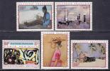 仏領ポリネシア(航空)ポリネシア在住画家の絵画<1970年>(未)5種完