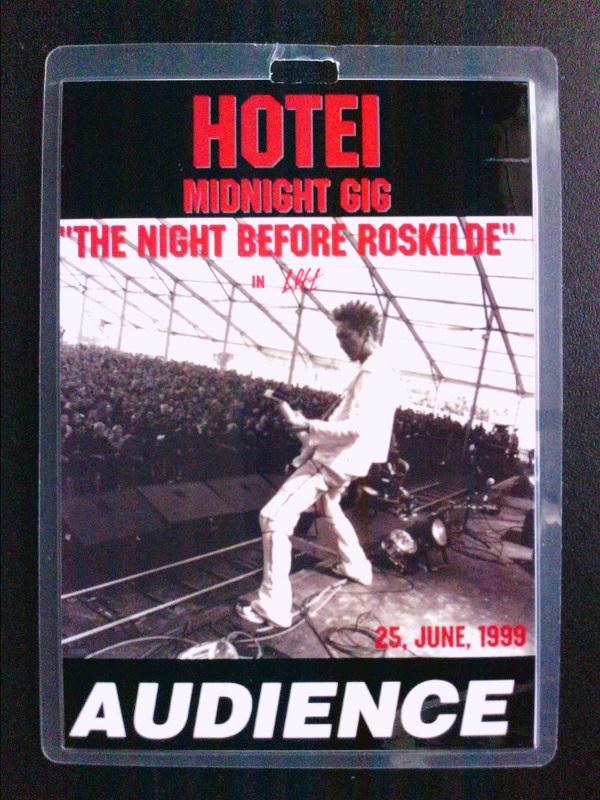 布袋寅泰 MID NIGHT GIG THE NIGHT BEFORE ROSKILDE 990625 AUDIENCE PASS