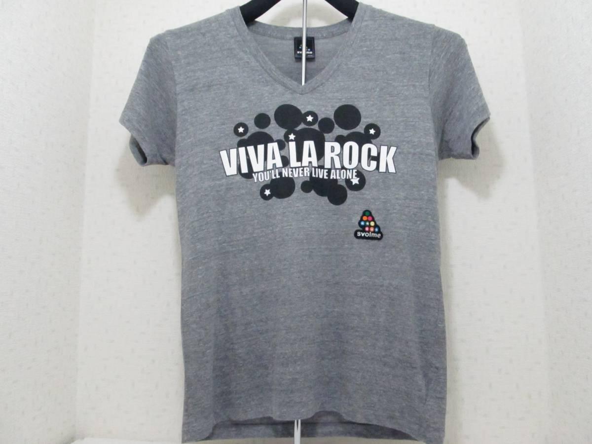 VIVA LA ROCK 2013 VネックTシャツ svolme (スボルメ) グレー Lサイズ 検)バンドt 半袖 the telephonesザ・テレフォンズ Base Ball Bear