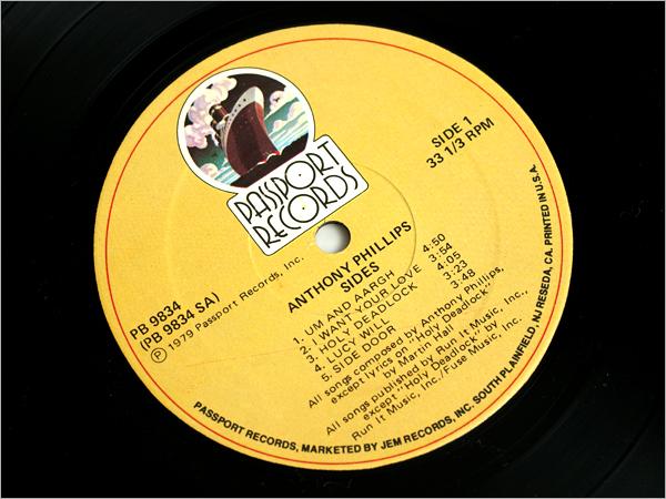 カット US盤レコード● ANTHONY PHILLIPS アンソニー・フィリップス SIDES サイド ( 元:ジェネシス GENESIS, ルパートハイン RUPERT HINE )_US盤レコード/カットアウト/盤状態再生良好
