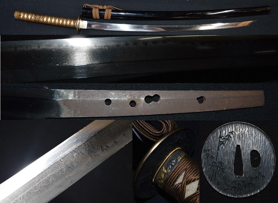 名刀!拵え付の初出し品・約二尺三寸・赤銅片切竹金覆輪鍔豪華拵・月山のような綾杉肌に