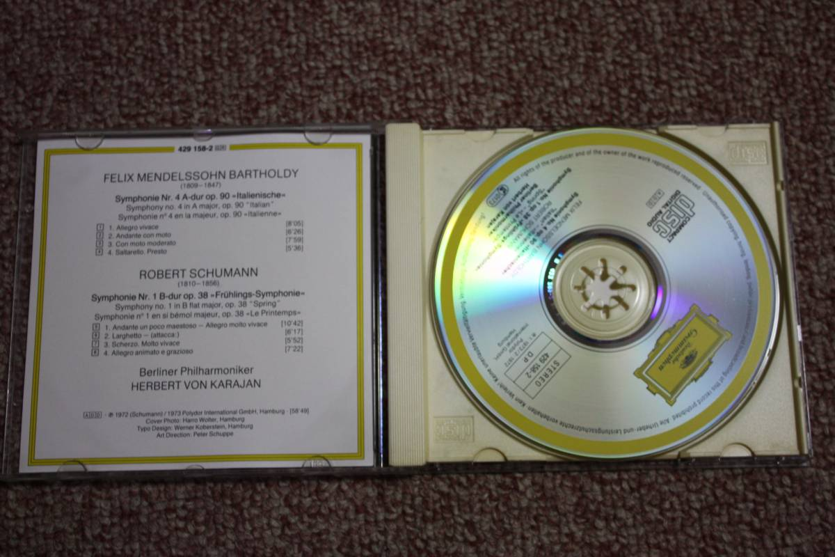メンデルスゾーン:交響曲第4番作品90イタリア/シューマン:交響曲第1番Op.38春/ベルリンフィルハーモニー管弦楽団/指揮:カラヤンCD_画像2