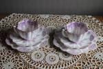 イギリス アンティーク 古い陶磁器の花形スカラップカットのカップとお皿 デザート皿 まとめて合計6点セット レア!