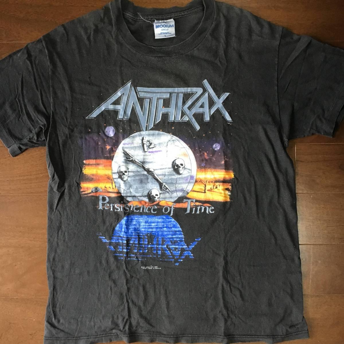 ビンテージ 超激レア ロックTシャツ ANTHRAX アンスラックス persistence of time 1990 tour 黒 古着 バンドTシャツ vintage metalliaca