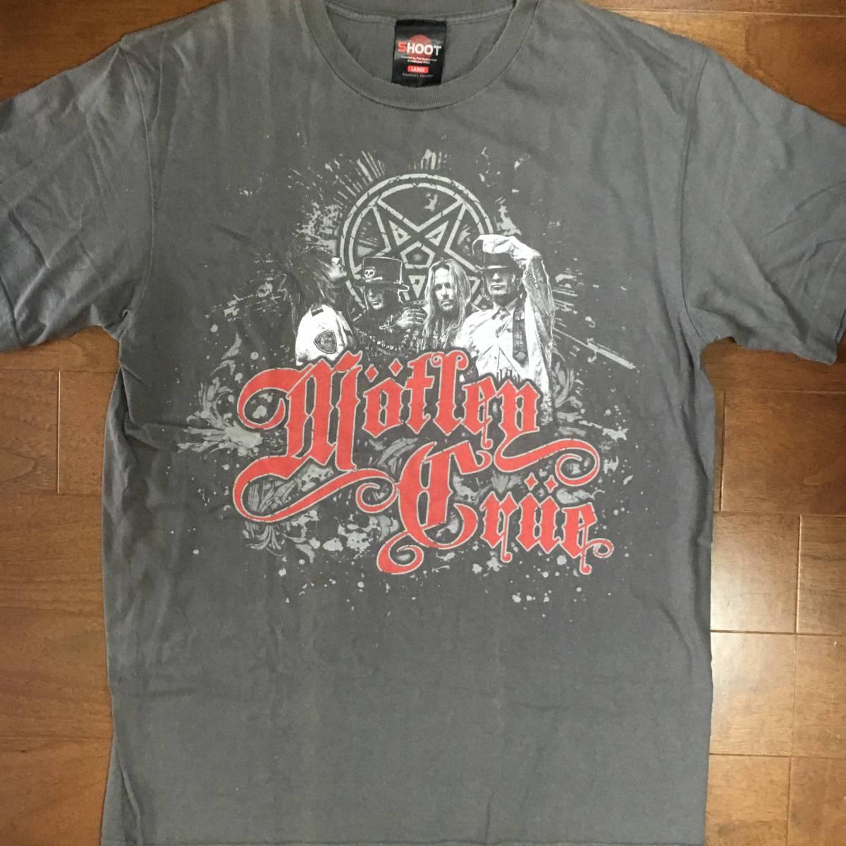 レア ロックTシャツ MOTLEY CRUE モトリークルー 2011world TOUR Lサイズ 正規品 古着 バンドTシャツ グレー 美品 GUNS'N ROSES