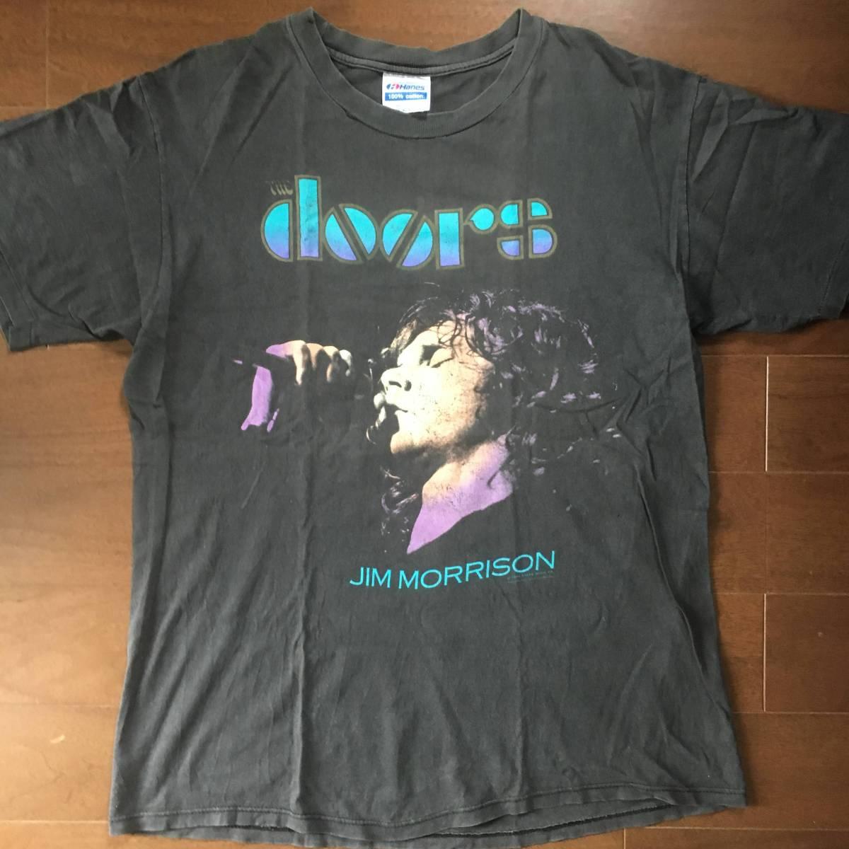 ビンテージ 激レア ロックTシャツ THE DOORS ドアーズ JIM MORRISON ジムモリソン 1990 黒 古着 バンドTシャツ vintage USA 希少 stones