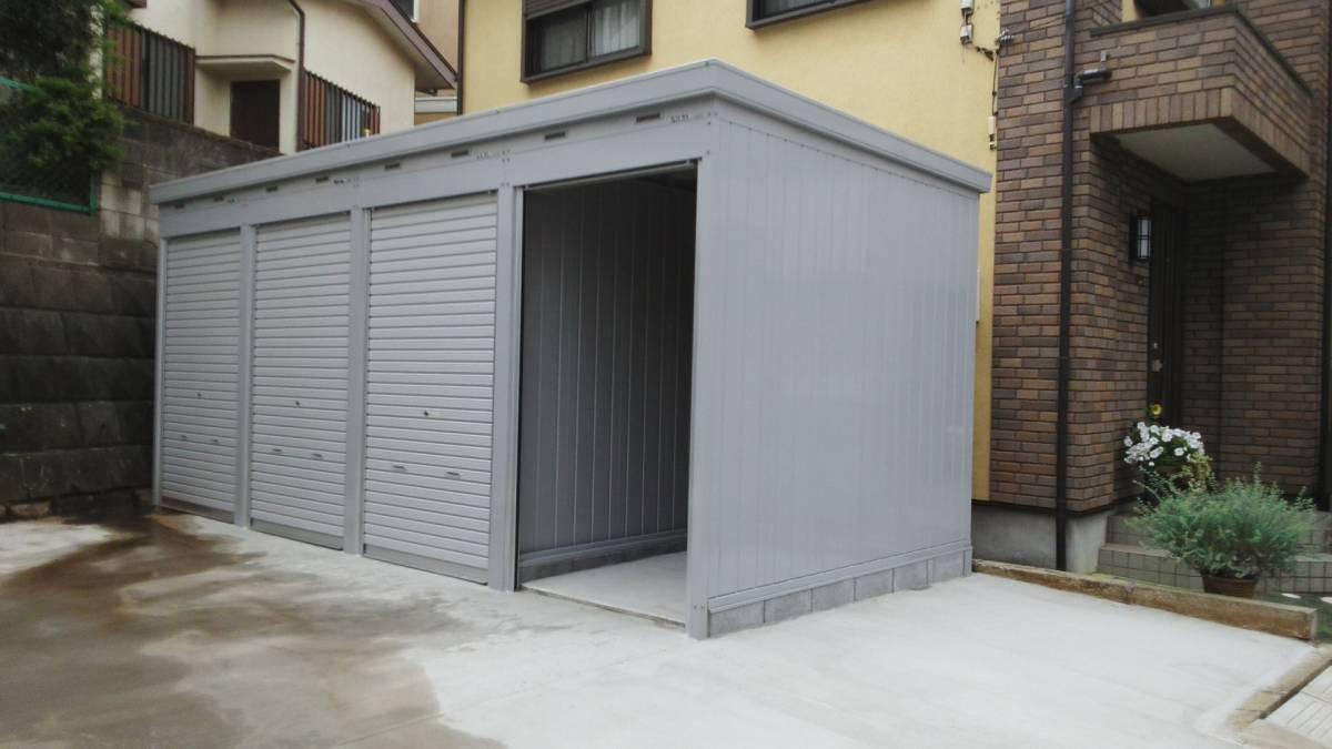 松戸市新作バイクガレージ_1台用ガレージです