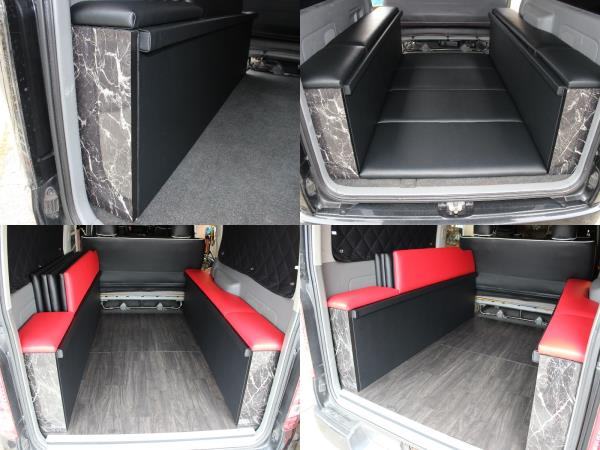土台PVCレザー貼り+床面収納+BOX内収納