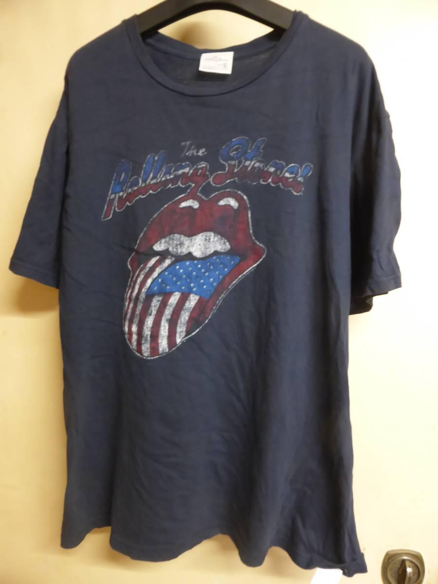 ローリングストーンズ rolling stones ROCK ロックTシャツ 紺 3L ライブグッズの画像