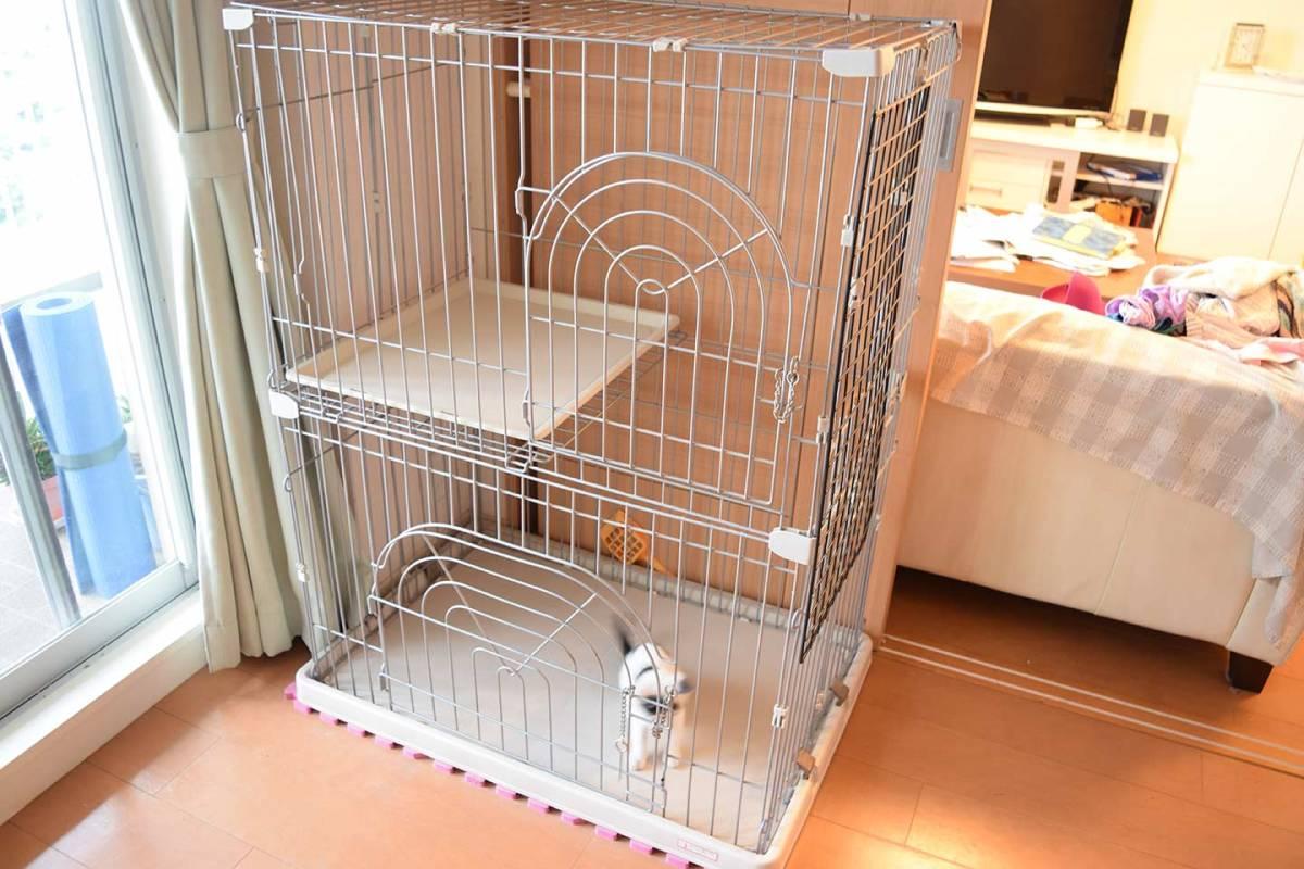 小動物用ゲージ2段 犬 猫 ウサギなど 幅約90×奥行き約60×高さ約120cm