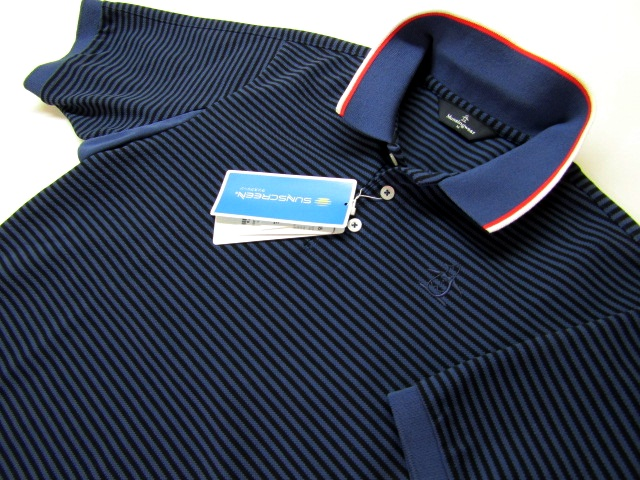 ◆高品質!マンシング\14040.Fine Dryアルファボーダーポロシャツ(M)紺/新品◆
