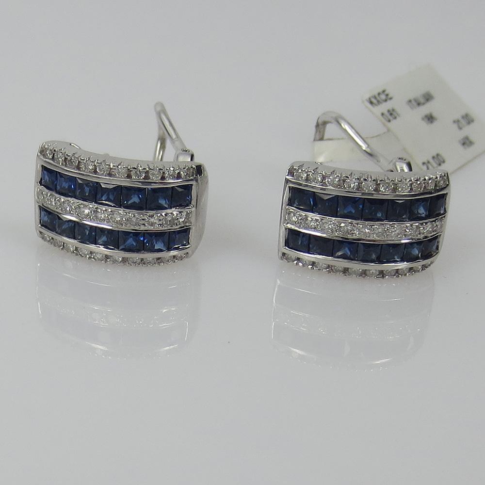 《3ct ダイヤモンド&サファイヤ》K18クリップ・ピアス_画像2